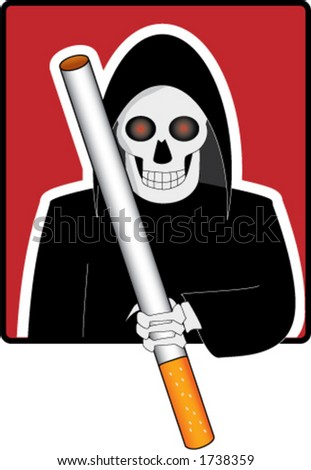 Grim reaper holding cigarette instead of the scythe.