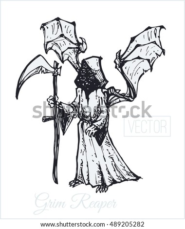 Grim Reaper. Illustration. sketch drawn by hand with ink. Isolated vector. Vintage. design for Halloween