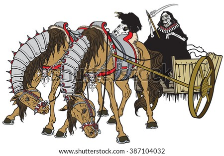 grim reaper in a cart of death pulled by two horses. Image isolated on white - stock vector