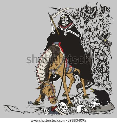 Grim Reaper Symbol Death Time Sitting Stock Vector 398834095