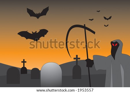 Grim Reaper vector at a graveyard.    Perfect for halloween.  Can be resized to ones desire - stock vector