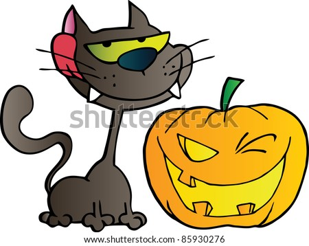 Grinning Black Cat And Winking Halloween Jackolantern Pumpkin - stock vector