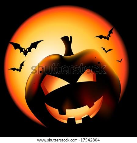 Grinning Halloween lantern vector illustration. - stock vector