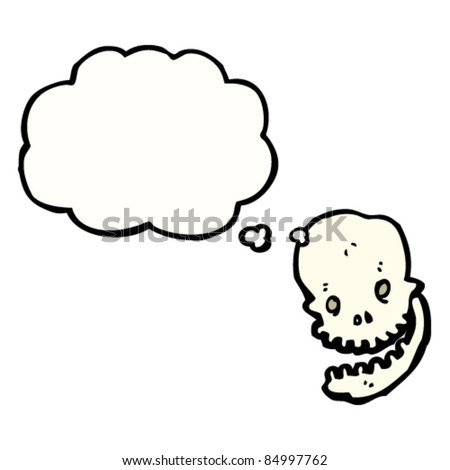 grinning halloween skull with thought bubble