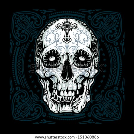 Grinning Sugar Skull Blue - stock vector