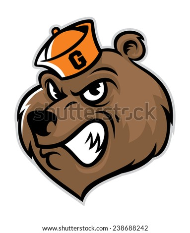 grizzly bear head mascot - stock vector