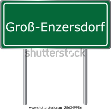 Grob Enzersdorf, Austria, road sign green vector illustration, road table - stock vector