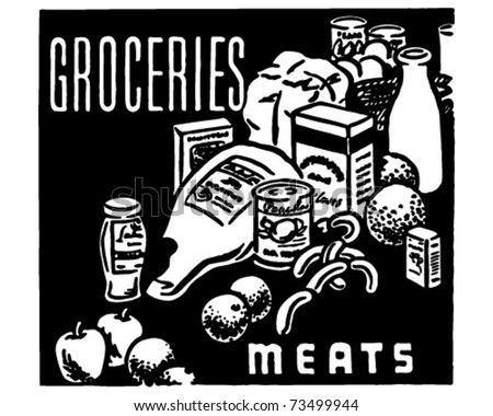 Groceries Meats - Retro Ad Art Banner - stock vector