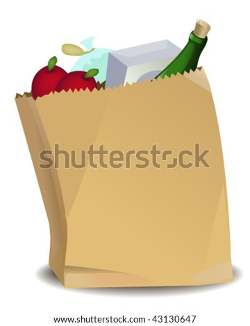Grocery Bag - Vector Illustration - stock vector