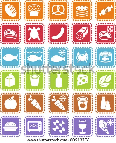 Grocery icons - stock vector