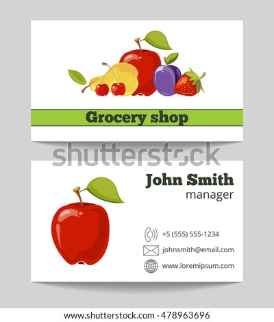 Grocery shop business card template with natural fruits. Vector illustration