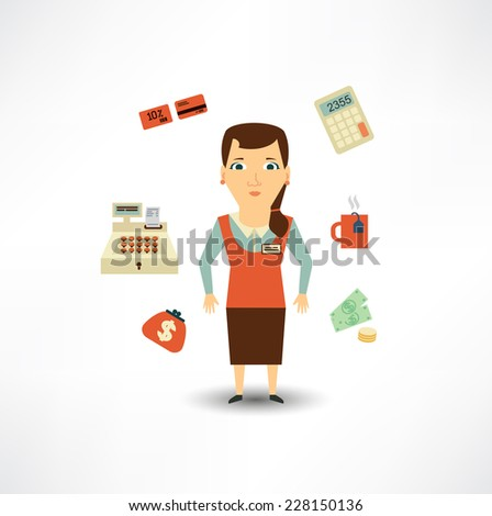 grocery store cashier  - stock vector