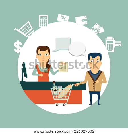 grocery store cashier serves customers illustration - stock vector