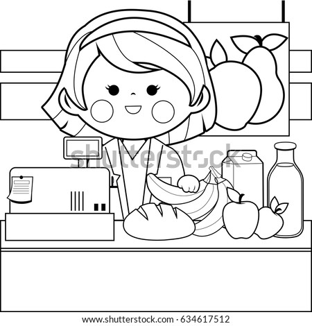 Grocery Store Employee Counter Black White Stock Vector 634617512 ...