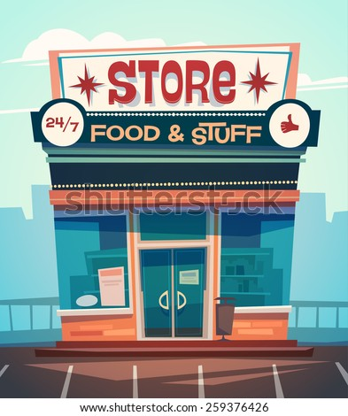 Grocery store facade. Vector illustration. - stock vector