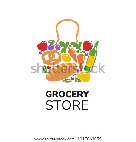 Grocery Store Logo Template Concept Bag Vector de stock ... Grocery Store Logos Free