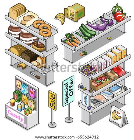 Grocery store shelves filled with various goods such as bread, vegetables, candy bags, boxes and fish, including displays and signs (isometric vector collection)