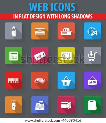 Grocery store web icons in flat design with long shadows