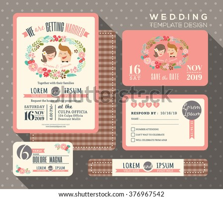 groom and bride cartoon retro wedding invitation set design Template Vector place card response card save the date card - stock vector