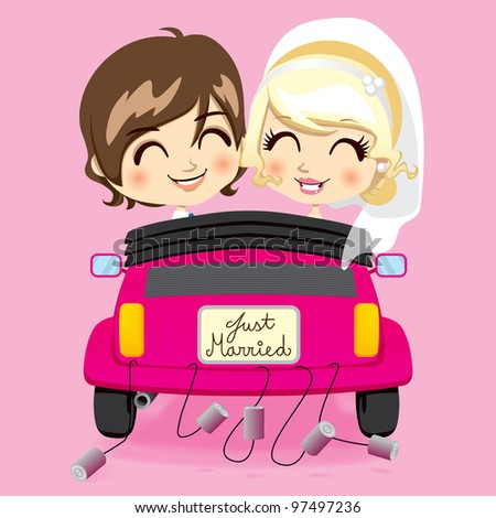 Groom and bride driving a pink automobile with a just married car plate and cans tied to bumper - stock vector