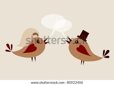 groom bird and wife bird, vector illustration - stock vector