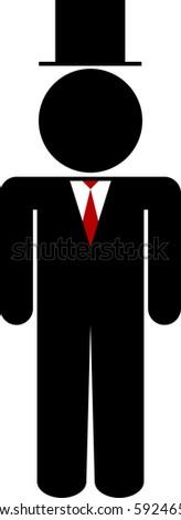Groom / mayor stick figure - stock vector