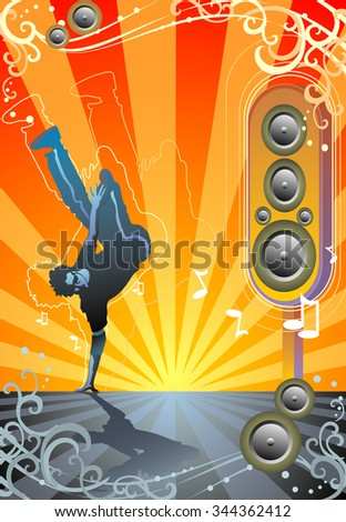 Groove to the Beat-Vector illustration of street dancing showdown