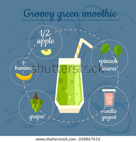 Groovy green smoothie recipe. Menu element for cafe or restaurant with energetic fresh drink. Fresh juice for healthy life. - stock vector
