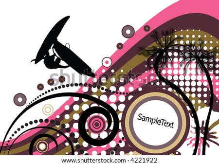 groovy grunge vector tropical design with windsurfer in the air - stock vector