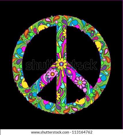 Groovy retro peace sign, eps10 vector - stock vector