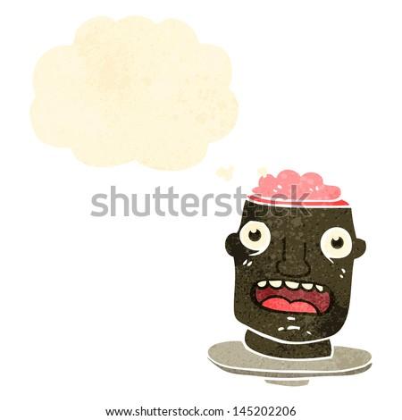 gross head on plate retro cartoon - stock vector
