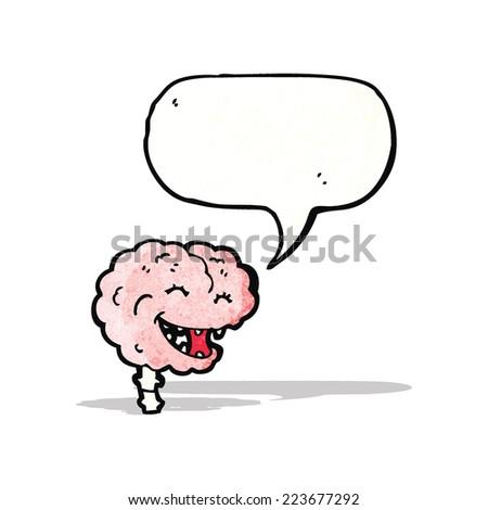 gross laughing brain cartoon - stock vector