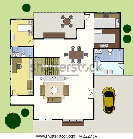 Ground Floor Plan Floorplan House Home Building Architecture Blueprint Layout - stock vector