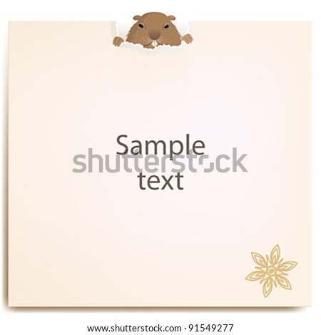 Groundhog behind a paper - stock vector