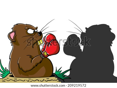 Groundhog boxing his shadow as he is emerging from his hole. - stock vector