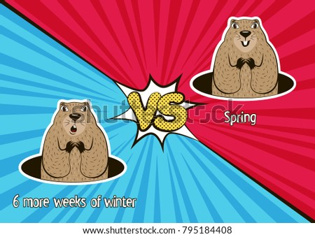 Groundhog day card winter vs spring stock photo photo vector groundhog day card winter vs spring funny marmot weather forecasters in the cartoon m4hsunfo