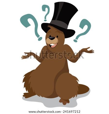 Groundhog Day cartoon character. EPS 10 vector stock illustration. - stock vector