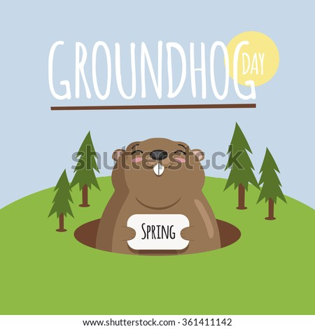 Groundhog day, february 2, cute vintage card