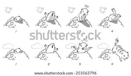 Groundhog Day. Funny cartoon character. Coloring book. Vector illustration. Isolated on white background. Set - stock vector