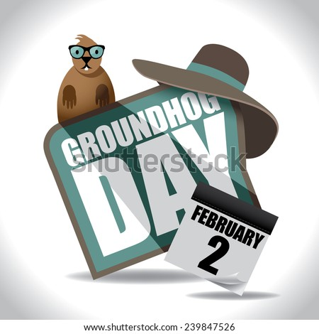 Groundhog Day icon design. EPS 10 vector stock illustration. - stock vector