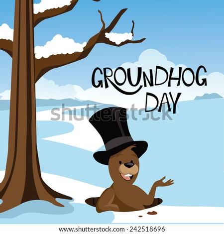 Groundhog Day snowy scene EPS 10 vector stock illustration - stock vector