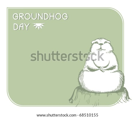 Groundhog day with text. Vector graphic postcard - stock vector