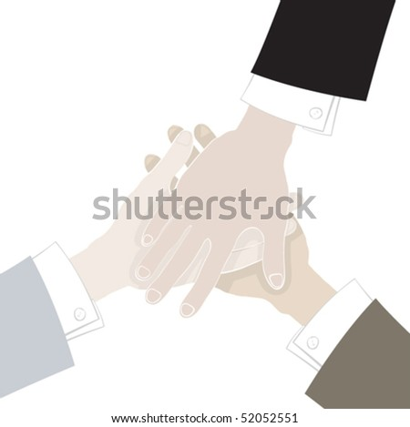 Group business handshake with a different hands - stock vector