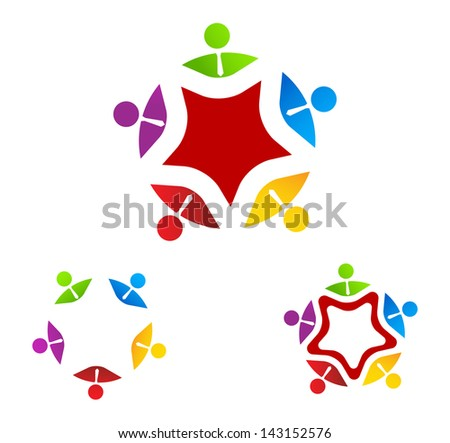 Group Business symbol on star - stock vector