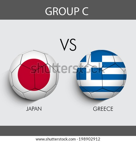 Group C Team Japan v/s Greece countries flags for Soccer Competition in Brazil.  - stock vector