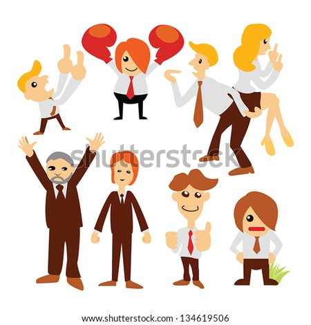 Group cartoon business people character set - stock vector