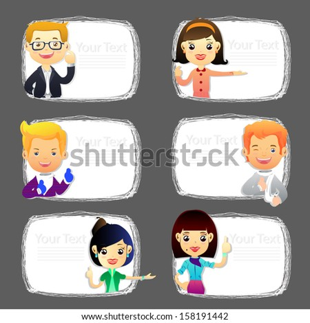 Group cartoon business people.Teenagers and white billboard with empty space.  - stock vector