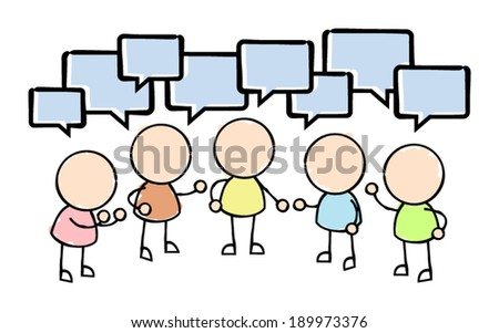 Group Conversation with Speech Bubbles  - stock vector