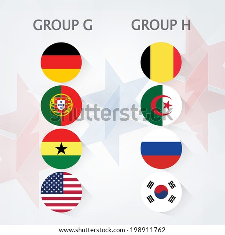 Group G and Group H Teams, Country Flags on stars decorated background.