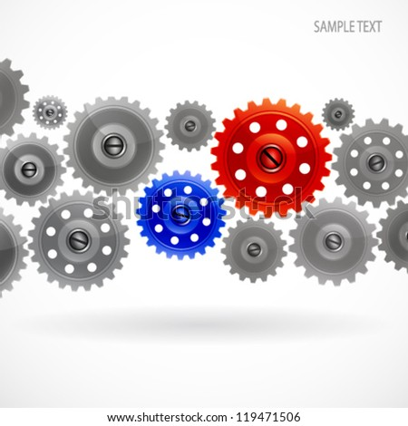 Group gears on white background. - stock vector